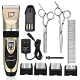 FOCUSPET Pet Grooming Clippers, Low Noise Professional Rechargeable Cordless Dog Grooming Clippers Kit Electric Hair Trimming Clippers Set for Dogs Cats Other Animals (Gold&Black)