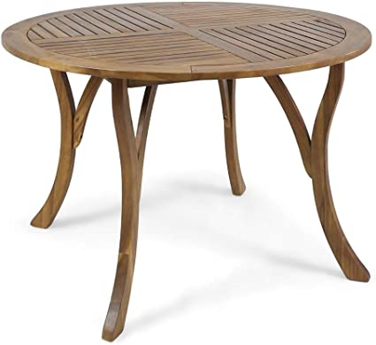 "Amazon.com : Christopher Knight Home 304867 Adn Outdoor 47"" Round Acacia Wood Dining Table, Teak : Garden & Outdoor"
