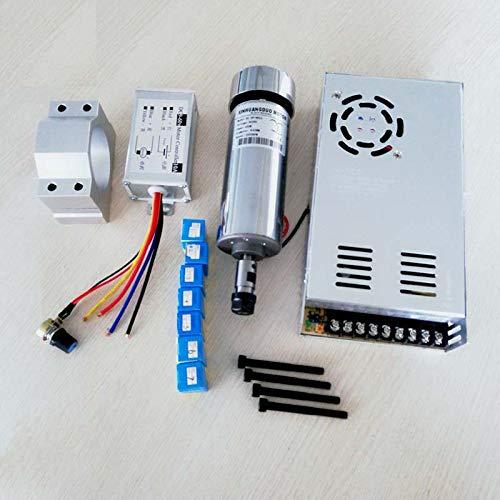 Motor de fresado CNC de 500 W refrigerado por aire, 0,5 kW, convertidor de potencia de velocidad de eje y abrazadera de 52 mm...
