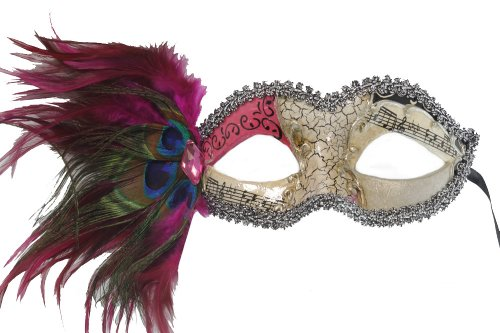 (RedSkyTrader Womens Aged Finish Mask- Peacock Feathers One Size Fits Most)