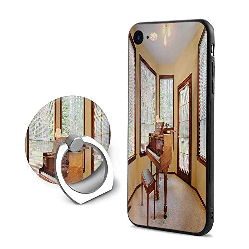 Antique iPhone 6 Plus/iPhone 6s Plus Cases,Round Room with Piano Lots of Windows Classic Architecture Furnished Brown Pale Yellow White,Mobile Phone Shell Ring Bracket