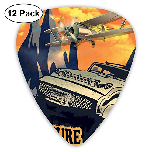 Guitar Picks 12-Pack,Grunge Retro Poster Of A Big Car With Huge Tyres And Biplane On The Mountains