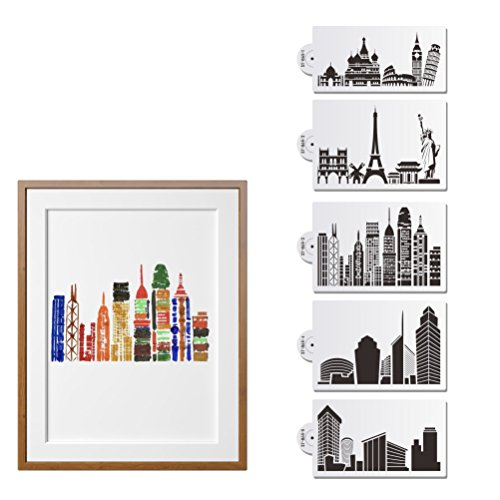 "AK ART KITCHENWARE Landmark Building Plastic Cake Stencils Template for Fondant Cake Decorating Supplies Decor Stencil Mold White 5pcs 8.5""x5"" ST-865"