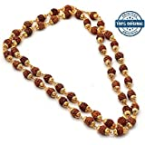 RUDRADIVINE Golden and Brown Plastic Cap Mala with 5 Face Rudraksha (5 mm)