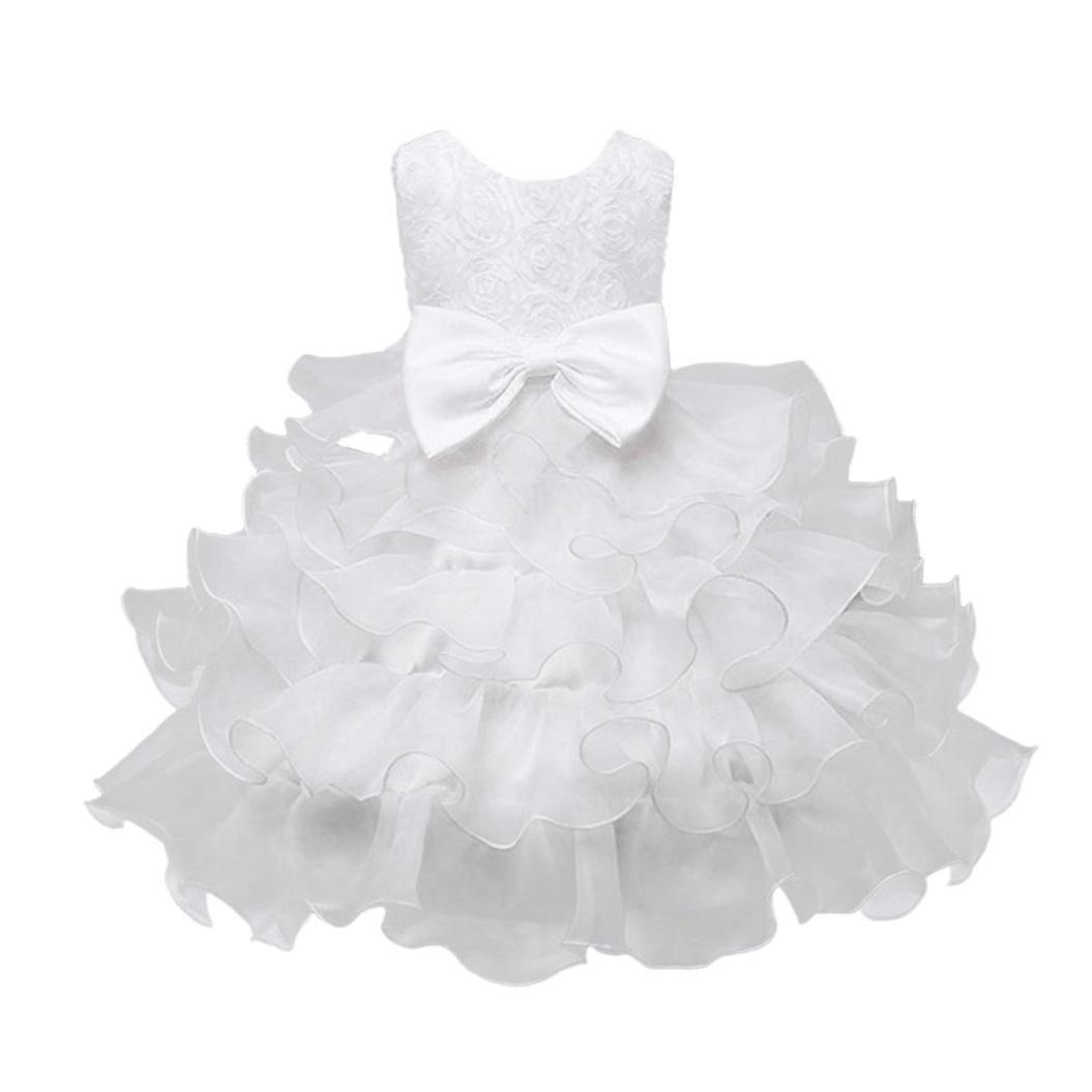 BYSTE Bambino Ragazze Fiore Compleanno Nozze damigella d'onore Party Principessa Formale Vestito outfits Abiti