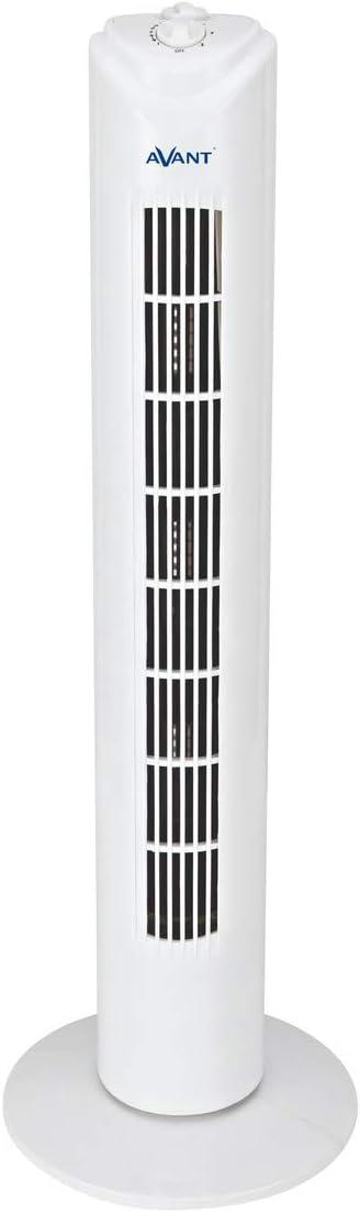 AVANT - Ventilador de Torre Oscilante, 74 Cm, 50W, 3 Velocidades, Temporizador, Color Blanco.