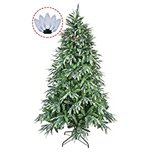 ABUSA Multicolor PE/PVC Mixed Pine Artificial Glitter Christmas Tree 7.5 ft Prelit with 600 UL Warm White Strawberry LED String Lights Metal Stand 63