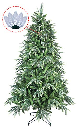 Silk Christmas Tree - ABUSA Multicolor PE/PVC Mixed Pine Artificial Glitter Christmas Tree 7.5 ft Prelit with 600 UL Warm White Strawberry LED String Lights Metal Stand
