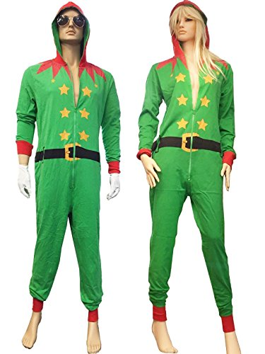 Rimi Hanger Mens Womens Red Santa And Green Elf Onesie Costumes Adults Fancy Xmas Party Dress Outfit Green Elf Small ()