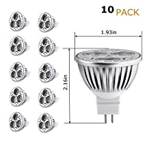 Xking 10 Pack Mr16 4w Dimmable Led Bulbs, 3000k Ultra Bright Spot Light Lamp Bulbs,equivalent to 50w Halogen,60 Degree Beam Angle,360lm ,Input:12v Dc-warm White