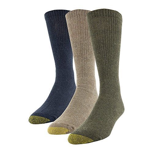 Gold Toe Men's Uptown Crew Socks, 3 Pairs, Olive/Tobacco/Denim, Shoe Size: 6-12.5 ()