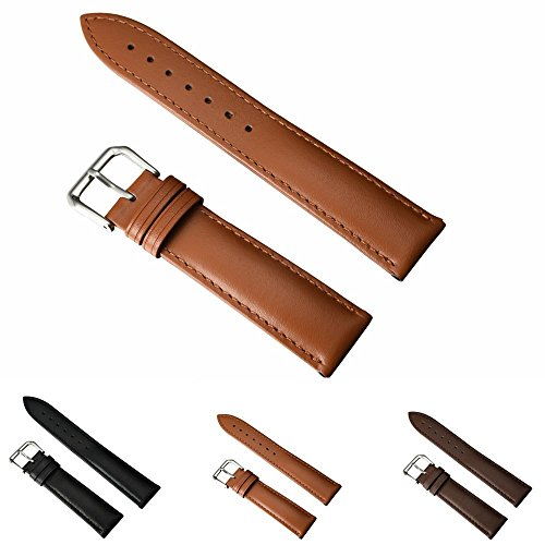 Leather Watch Strap - Choices of Color & Width (18mm,20mm or 22mm) STYLELOVER Genuine Cowhide Leather Watch Band with Stainless Buckle(20mm,Light Brown)