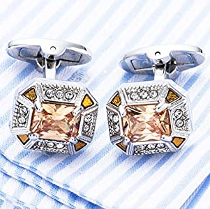Rectangle Exquisite Crystal Cufflinks Fashion Bullet Cufflinks Crystal Gem stone Cuff links