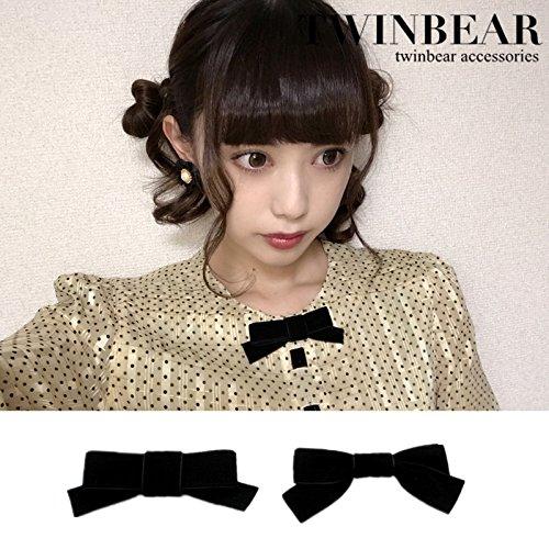 Twin bears promotional models wild black silk girl retro brooch heart brooch bow brooch