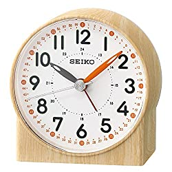 Seiko Orange Lumibrite Alarm Clock with Wood Pattern Case, Brown, 9 x 5.3 x 9.7 cm