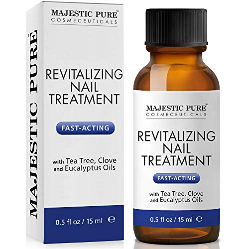 MAJESTIC PURE Natural Nail Treatment - Fights Toenail Fungus with Tea Tree, Clove, and Eucalyptus Oils - Natural Remedy for Damaged Toe Nails and Foot Health - 0.5 fl oz