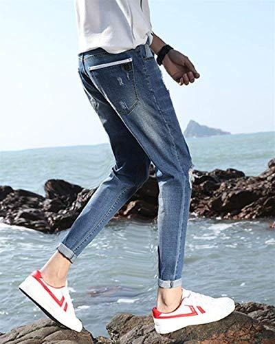 Uomo Jeans Di Lavati Fori Colore Pantaloni 1821denim Chiaro Da Slim Strappati Stretch Pants Skinny Cher Fit qH4Iw04n