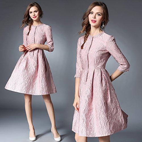 ZHUDJ Señoras Otoño Invierno _ Mujeres Camiseta Entallada De Manga Siete Jacquard De Una Sección Larga Pink