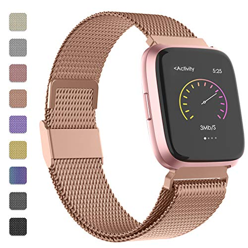 iGK Metal Replacement Bands Compatible for Fitbit Versa/Versa Lite Edition/Versa 2, Stainless Steel Loop Metal Mesh Bracelet Unique Magnet Lock Wristbands