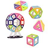 FunsLane 68 Pcs Kids Educational Magnetic Building Blocks Toys Set with Wheel DIY Activities Toys Multiple Shapes and Assorted Colors