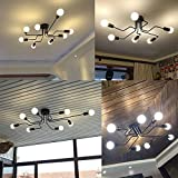 Industrial Edison 8 Lights Semi Flush Ceiling Light