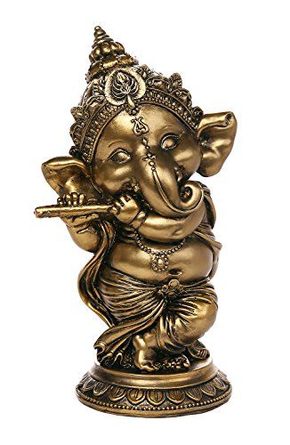 Pacific Giftware Ganesha The Hindu Elephant Deity Playing Flute Ganesh Figurine Sculpture 6 Inch H