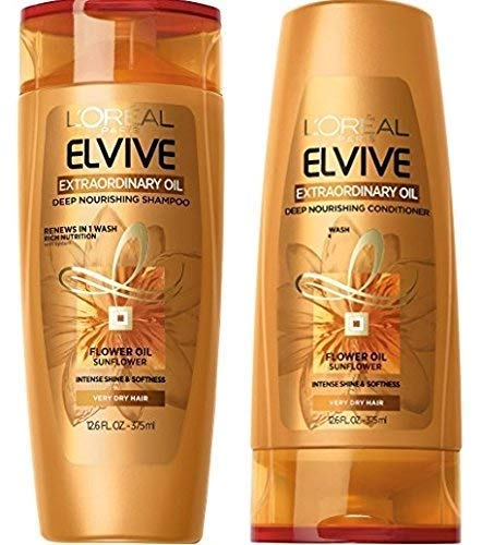 LOreal Paris Elvive Extraordinary Oil Deep Nourishing Shampoo and Conditioner Set 12.6 fl. Oz. (Loreal Best Shampoo For Dry Hair)