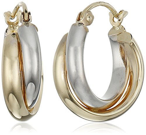 10k Gold Two-Tone 5.5mm Twisted Hoop Earrings