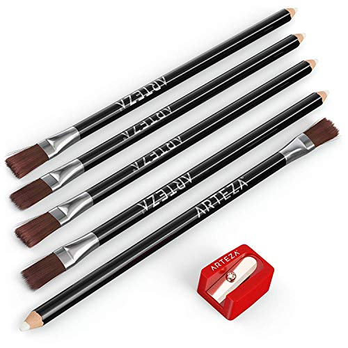 ARTEZA Eraser Pencil, Set of 6, White Color with Brush include Sharpener, Precision Latex-Free & PVC-Free Soft Eraser, Pocket Size Sharpener, Ideal for a Variety of Media, Erasing Fine Details, Lighte