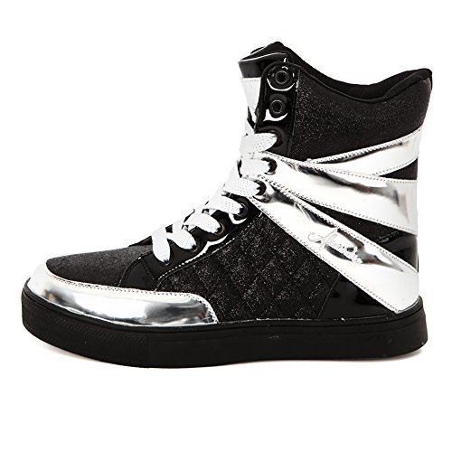 Alexandra Collection Youth Glitter High Top Shoes Hip Hop Dance Sneaker Black/Silver 2 by Alexandra Collection