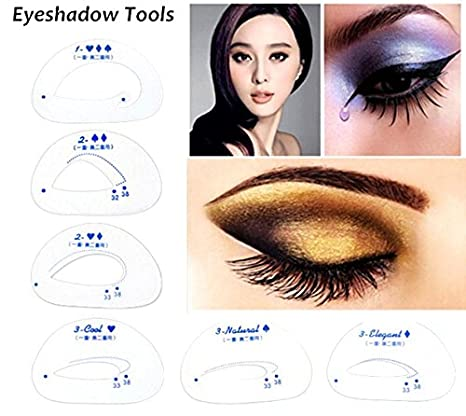 image about Printable Eyebrow Stencil called OUT OF BOX Kelley Solitary and Double Eyelid Eye Shadow Layouts Eyebrow Stencil Make-up Equipment (6 Components) - Fixed of 9