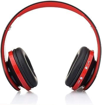 DQING Auriculares Inalámbricos Bluetooth, Cascos Bluetooth Plegable con Micrófono, 20 Horas Reproducción de Música Orejeras de Memoria Suave para TV, PC, Tablet, Móvil (Negro Rojo): Amazon.es: Electrónica