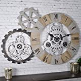 FirsTime & Co. 31044 Gear Collection Wall Clock, 32' H x 22.5' W x 2' D, Silver