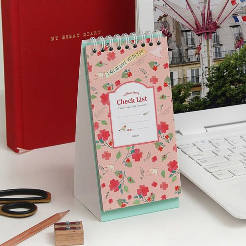Indigo Willow Pattern Desk Check List (Pink) (Check Willow)