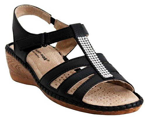 Sizes Heel Shoes Womens Walk Wedge 3 Studded Touch 8 Diamante Sandals Beach Cushion Black Ladies Fastening Summer UK qSRw6xwIn