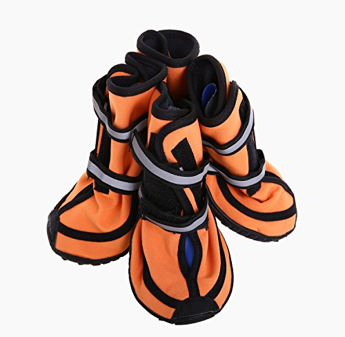 QBLEEV Pet Shoes Boots Dog Booties Waterproof Breathable Paw Protectors with Reflective Touch Fasten and Rugged Anti-Slip Sole for Small Medium Large Size Dogs (XXL(2XL), Orange) (Boots Great Winter Dane)