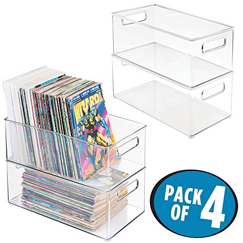 mDesign Home Storage Organizer Bin for Comic Books, Magazines - Pack of 4, Deep, Clear