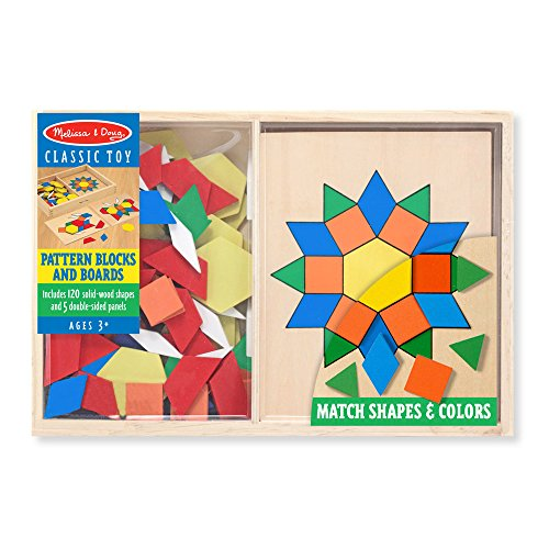 51moQ3ufawL - Melissa & Doug Pattern Blocks and Boards - Classic Toy With 120 Solid Wood Shapes and 5 Double-Sided Panels