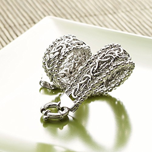 Ross Simons Sterling Silver Wide Beaded Byzantine Bracelet