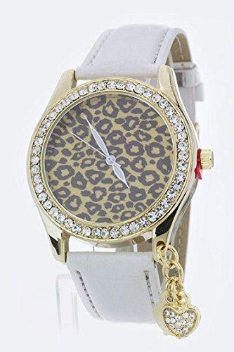 Karmas Canvas Heart Charm Leopard Dial Crystal Watch - Online Prada.com Store