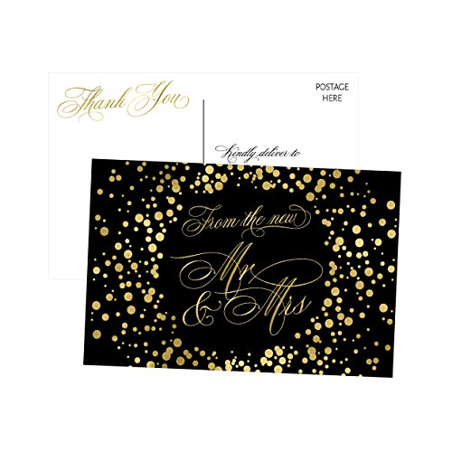 50 4x6 Black & Gold Modern Thank You Postcards Bulk, Cute Blank Thank You Cards From The New Mr. and Mrs. Thanks Note Card Stationery Set For Wedding Gifts, Bridesmaid, Bridal Shower, Engagement Party (Bridesmaid Wedding Greeting Card)
