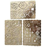 Trycooling 3 In 1 Creative Lace Metal Stainless Steel Portable Drawing Graffiti H1/H2/H3 Template Ruler Stencils