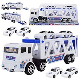 Best Plastic Police Truck with 4 Mini Police Cars