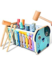 KIDWILL Wooden Hammering Pounding Toy, Educational Pegs Pound Maze Puzzle Number Sorter Musical Toy with Xylophone, Hammers, Mallets, Gift for 1-4 Year Old Boys and Girls