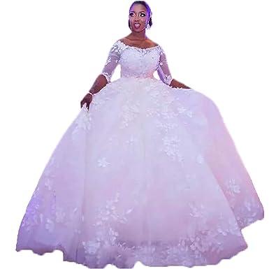 Dimei Beach Wedding Dress Sheer Sleeves A Line Lace Appliques Plus Size  Ball Gowns Wedding Dress