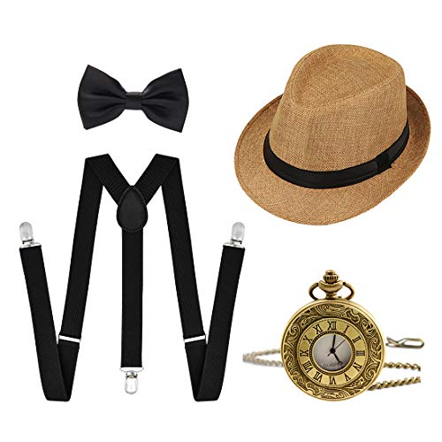 Ziyoot 1920s Accessories Men's Gatsby Gangster Costume Men Roaring 1920s Set Panama Y-Back Suspenders Bow Tie (Camel)