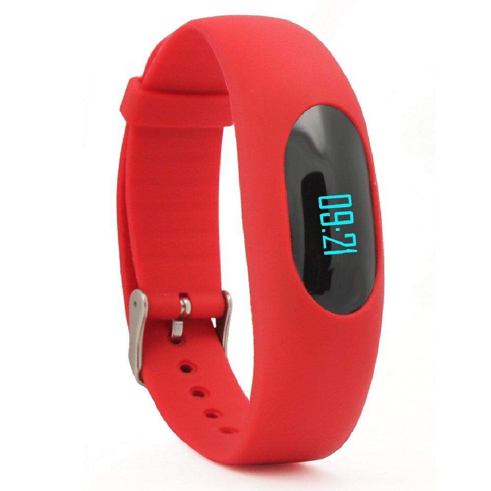 非蓝牙计步器,YAMAY®健身手环计步器手表健身追踪器,带日期和时间显示/步数/卡路里计数/距离计算/运动时间/睡眠监测(红色)