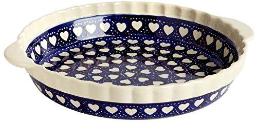 "Polish Pottery Made with Love Blue Hearts Pie Plate, 10""L x 10""W x 1.5""H, Boleslawiec Ceramika Wiza"