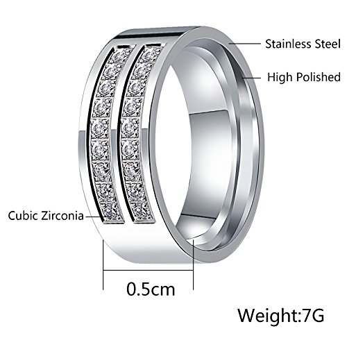 Aienid Rings for Men Wedding Engagement Band Wedding Bands for Women Eternity Promise Engagement Ring With Cz Size 9 by Aienid (Image #4)