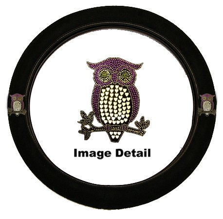 Purple Owl w/ Hearts Gem Crystal Studded Rhinestone Bling Car Truck SUV Steering Wheel Cover (Studded Steering Wheel compare prices)